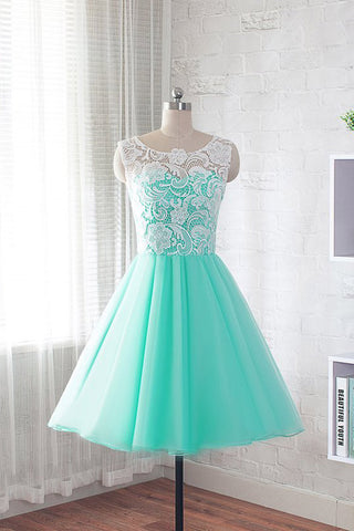 Fashion Round Neck A Line Short Homecoming with Lace, Cheap Sweet 16 Dresses
