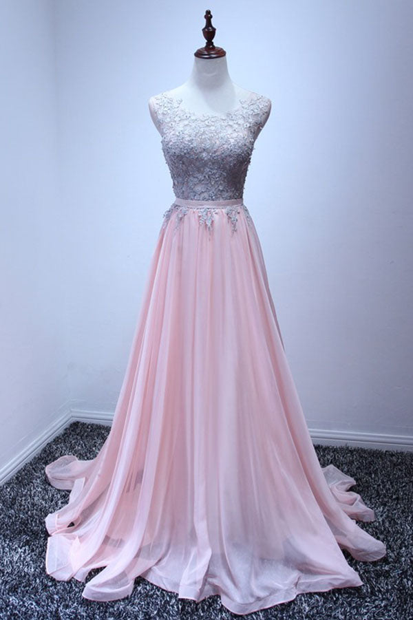 A Line Sleeveless Chiffon Long Appliqued Prom Dress, Pink Formal Dresses