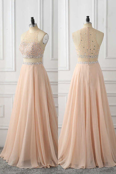 A Line Sleeveless Prom Dress with Rhinestone, Cheap Chiffon Long Prom Dress N1595