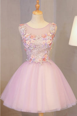 A Line Pink Tulle Homecoming Dress with Flowers, Short Prom Dress with Beads