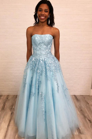 Light Blue Strapless Long Prom Dress with Lace Appliques, New Style Graduation Dress N1693