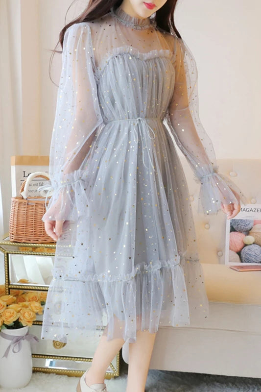 Blue Sparkly Star Long Sleeves Tulle Homecoming Dresses, Charming Short Prom Dress N2004