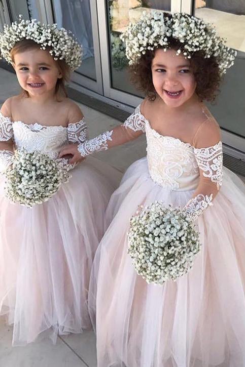 Adorable Long Sleeve Flower Girl Dresses, Little Girls Sheer Neck Wedding Dress F040