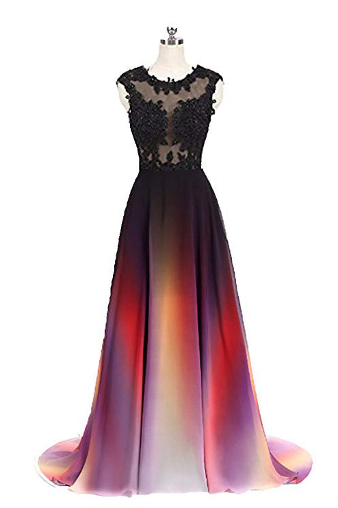 Gradient Sleeveless Ombre Prom Dress, A Line Gradient Lace Appliques Party Dress N1680