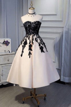 Ankle Length Strapless Prom Dress with Black Lace, A Line Princess Homecoming Dress