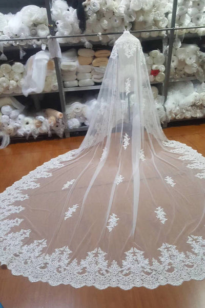 One Layer Tulle Bridal Veils with Lace Applique Edge, Ivory Wedding Veils V036