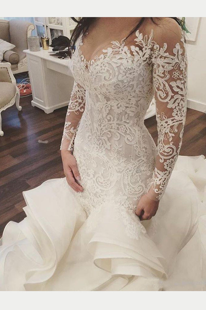 Gorgeous Long Sleeve Ivory Appliques Ruffles Wedding Gowns, Mermaid Bridal Dress N1117