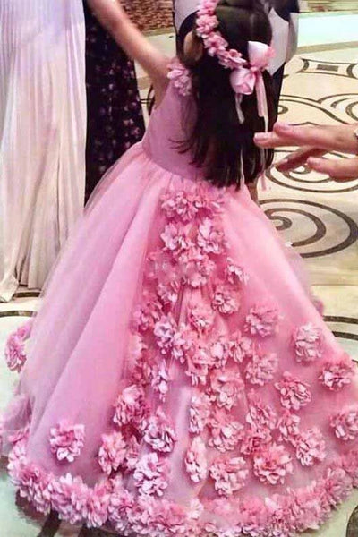 Floor Length Scoop Neck Ball Gown Flower Girls Dresses With 3D Floral Appliques F077