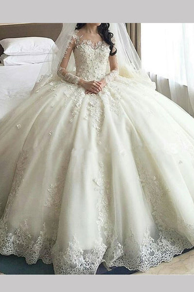 Gorgeous ivory Lace Appliques Long Sleeves Ball Gown Wedding Dress,N549