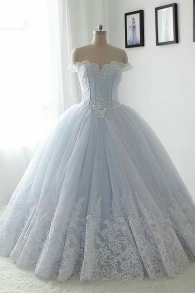 Floor Length Puffy Off the Shoulder Prom Dress with Lace, Ball Gown Quinceanera Dresses N1350