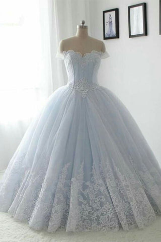 21f18b685f290 Floor Length Puffy Off the Shoulder Prom Dress with Lace, Ball Gown  Quinceanera Dresses N1350