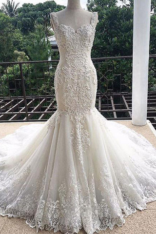 Gorgeous Mermaid Sweetheart Sleeveless Lace Tulle Long Wedding Dress,Lace Bridal Dress