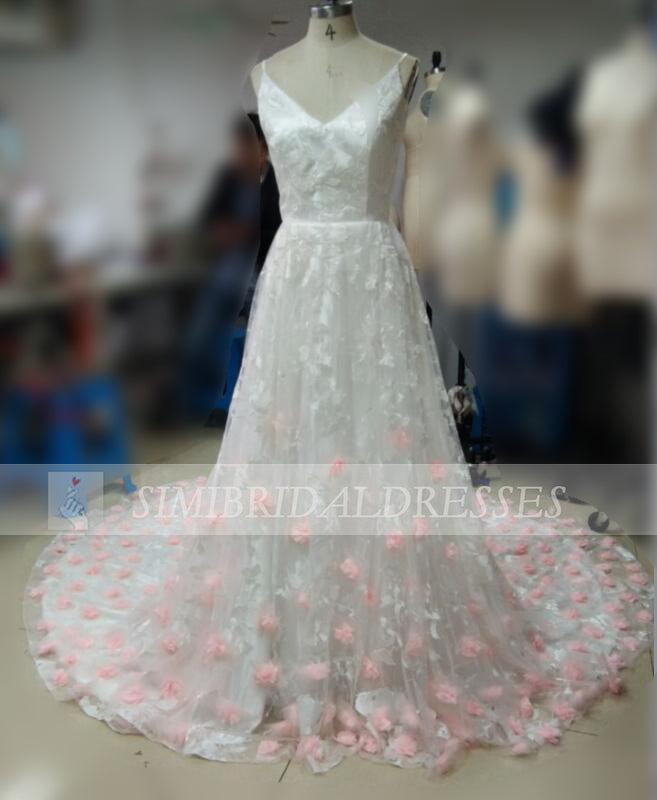 Gorgeous Spaghetti Straps V-neck Court Train Prom Dress with Pink Hand-made Flowers,N428