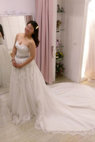 A-line Strapless Lace Appliques Court Train Wedding Dress with Beading Waist,N446