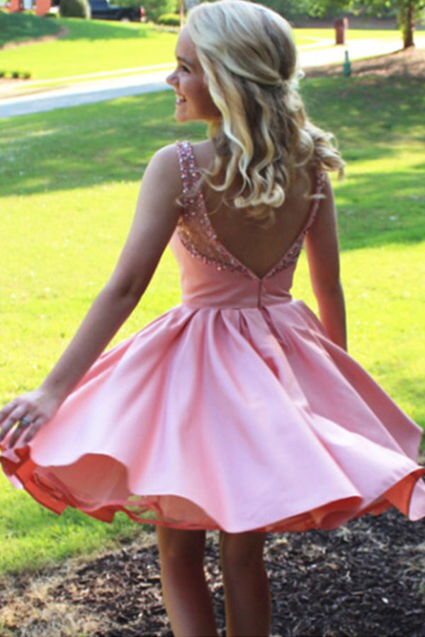 Simple A-Line Bateau Knee-Length Pink Satin Sleeveless Homecoming Dress with Beading,N372