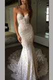Luxurious Sweetheart Strapless Lace Wedding Dresses,Trumpet Court Train Bridal Gown,N472