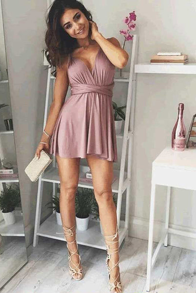 A-Line Deep V-Neck Lace-Up Blush Pink Chiffon Homecoming Dress,Sexy Short Party Dress,N300