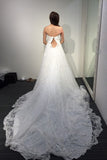 A-line White Princess Strapless Open Back Lace Beach Wedding Dress with Court Train,Bridal dress,N407
