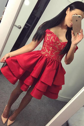 Sexy A-Line Off-The-Shoulder Red Tiered Homecoming Dress With Lace,Short Prom Dress,N281