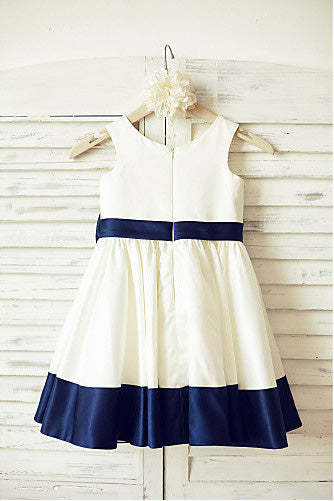 Ivory Flower Girl Dress with Navy Blue Belt,A-line Sleeveless Flower Girl Dress with Bowknot,F008