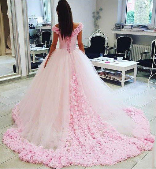 Anime Ball Gown White With Red Roses: Pink Ball Gown Princess Off-shoulder Hand-Made Flower