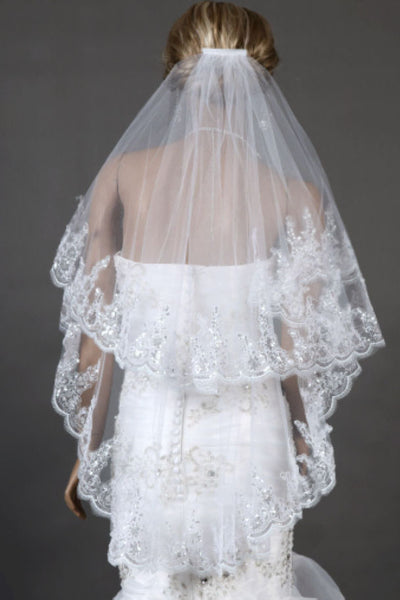 Two Tier New Lace Appliques Tulle Bridal Veil for Wedding with Rhinestone+Comb,V004