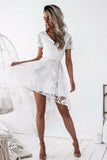 White High-low Short Sleeve V-neck Lace Homecoming Dress,Backless Party Gown,N299