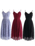 Lavender Spaghetti Straps Lace Prom Dress,Knee Length Homecoming Dress N771