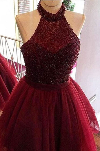 Burgundy Halter Beading Tulle Short Prom/Homecoming Dresses,Backless Party Dresses,N247