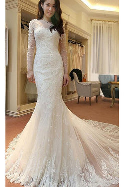 Ivory Long Sleeves Mermaid Lace Appliques Tulle Wedding Dress with Sweep Train,Beach Wedding Dresses,N390