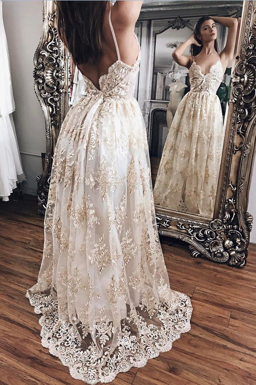 Sexy Spaghetti Straps V-neck Backless Lace Prom Dress,Beach Wedding Dresses,N452