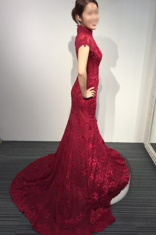 Burgundy Lace Short Sleeve High Neck Mermaid Sweep Train Evening Dress,Vintage Prom Dress,N413