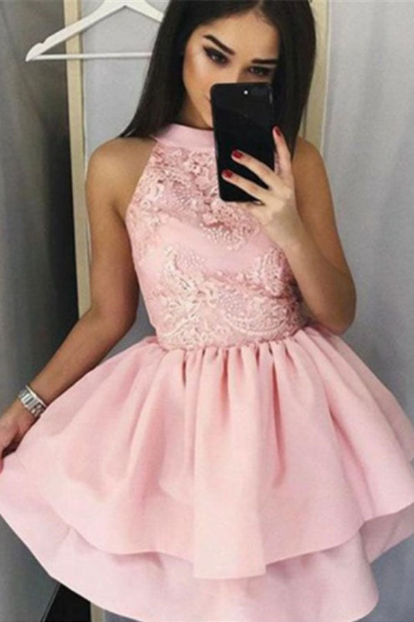 Pink Sleeveless A Line Mini Prom Dress, Two Layers Appliques Satin Homecoming Dress