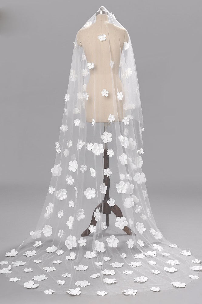 Unique Flower Chapel Length 1 Tier Wedding Bridal Veil+Comb,Wedding Veils,V010