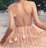 Long Spaghetti Straps Tulle Prom Dress with Flowers, V Back Homecoming Dress N927