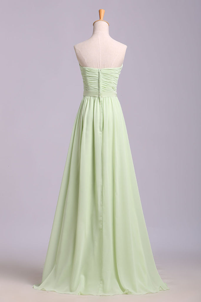 Simple Sweetheart Chiffon Prom Dress, Long Pleated Sleeveless Bridesmaid Dresses N1205