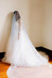 White 1T Tulle with Lace Appliques Wedding Bridal Veil Cathedral Length V019