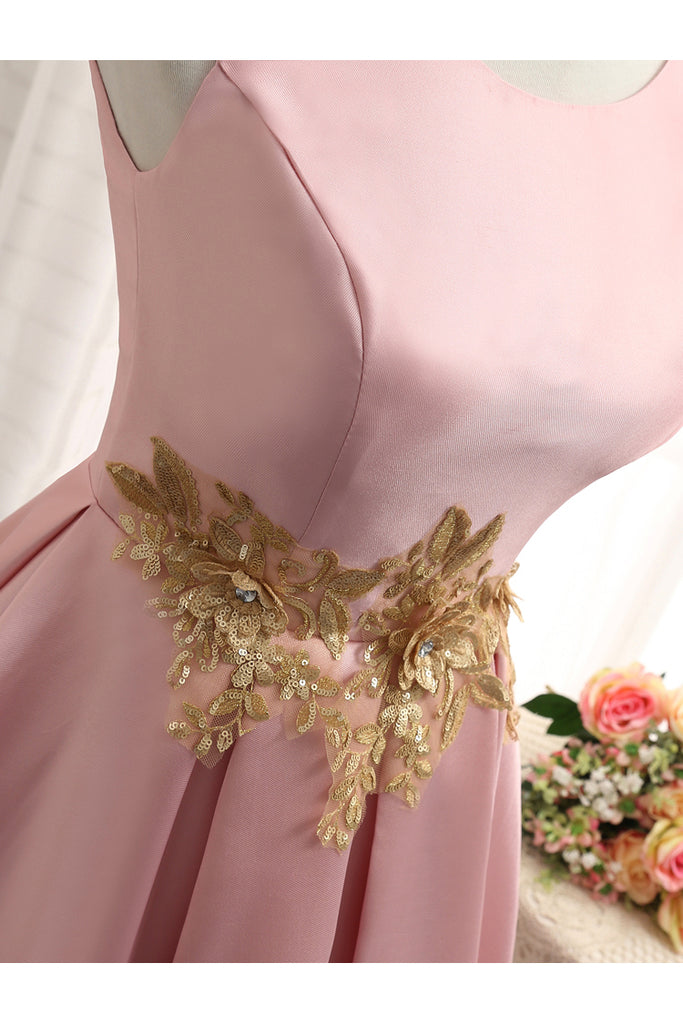 Pink A Line Sleeveless Ruched Homecoming Dress with Gold Appliques, Short Prom Dress N924