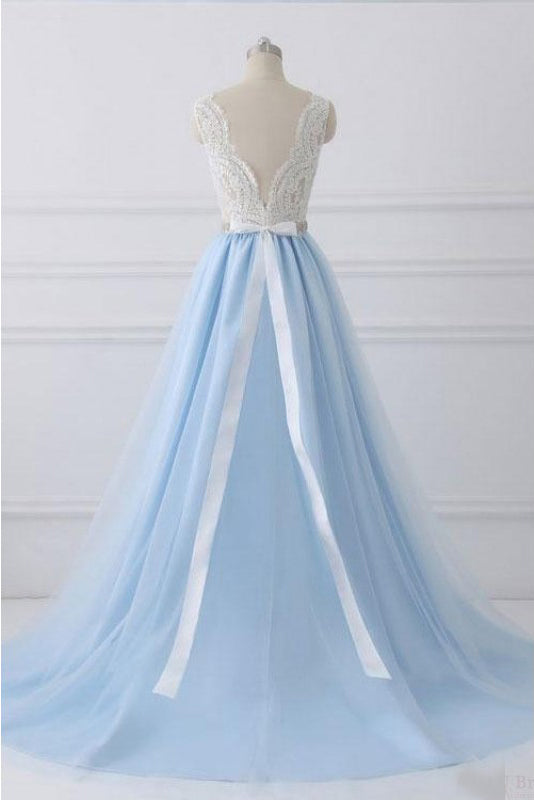 A Line V-neck Lace Appliques Bodice Long Prom Dresses,Elegant Prom Dress with Beads N1008