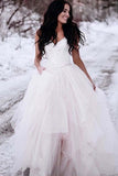 Charming Straps Lace Top Backless Tulle Asymmetrical Wedding dresses N1264