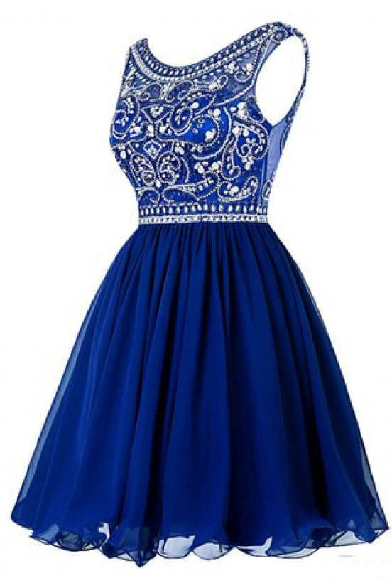 A Line Royal Blue Beading Bodice Knee Length Chiffon Homecoming Dresses N1050