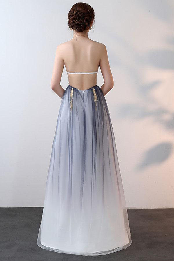 A-line Halter Tulle Prom Dresses With Applique, Ombre Sexy Backless Formal Dresses N1139