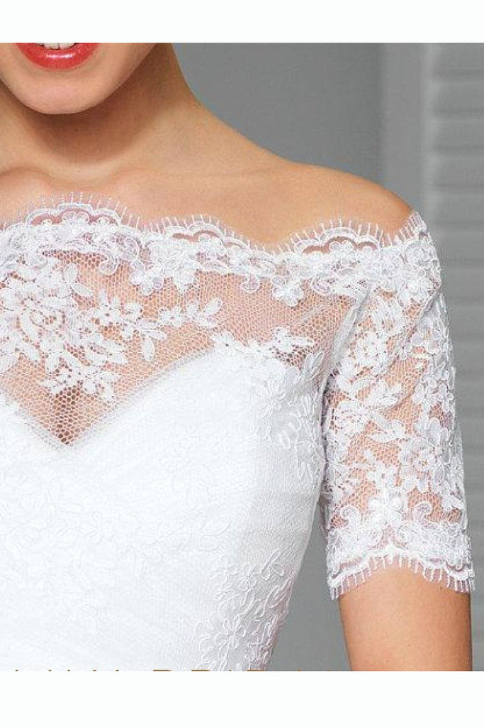 Short Sleeve Off-the-Shoulder White Lace Bridal Jacket, Bridal Shawl JK007