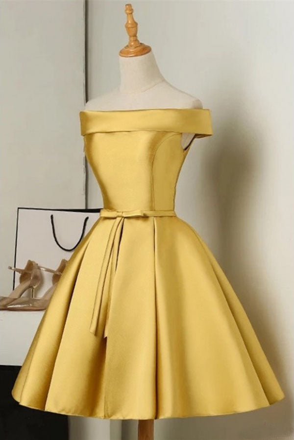 Simple Off the Shoulder Satin Short Prom Dress with Bowknot, A Line Homecoming Dress