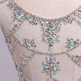 White Mermaid Sleeveless Split Prom Dress with Sequins, Sweep Train Dress with Rhinestones N1207