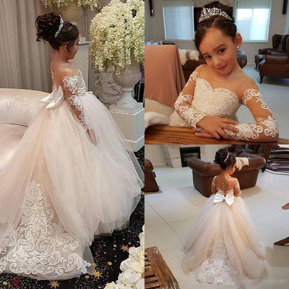 Ivory Long Sleeve Tulle Flower Girl Dress With Lace Cheap Flower Girl Dress With Bowknot F041