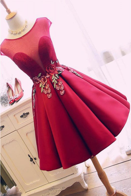 Burgundy Satin Ruched Homecoming Dress, A Line Short Prom Dress with Appliques N1021