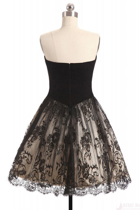 A Line Sweetheart Lace Homecoming Dress, Black Short Strapless Prom Dresses N1057