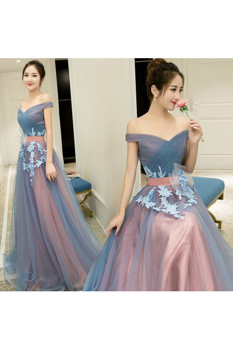 A-Line Off-the-Shoulder Tulle Long Prom Dresses Long Tulle Pleats Evening Dresses N1053