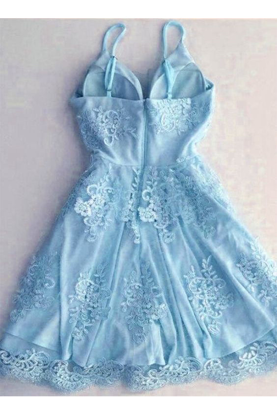 Light Blue Spaghetti Strap Lace Appliqued Short Homecoming Dresses, Sexy Mini Prom Dress N1047